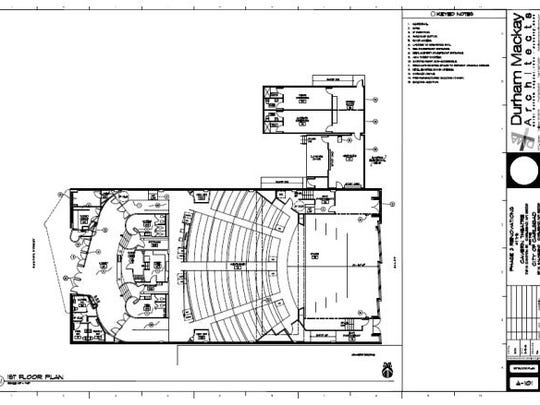 A floor plan of the Cavern Theater's first floor.
