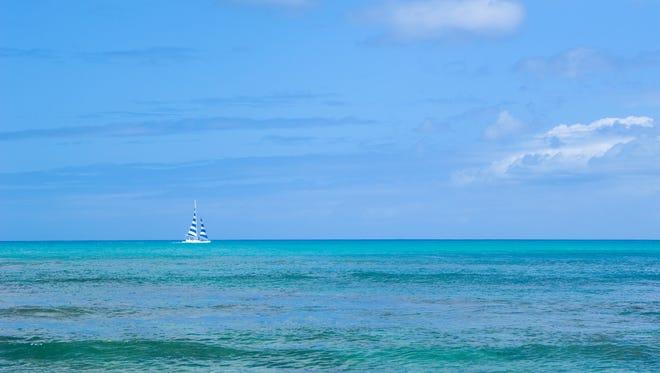 Stock image: Boat in the ocean.