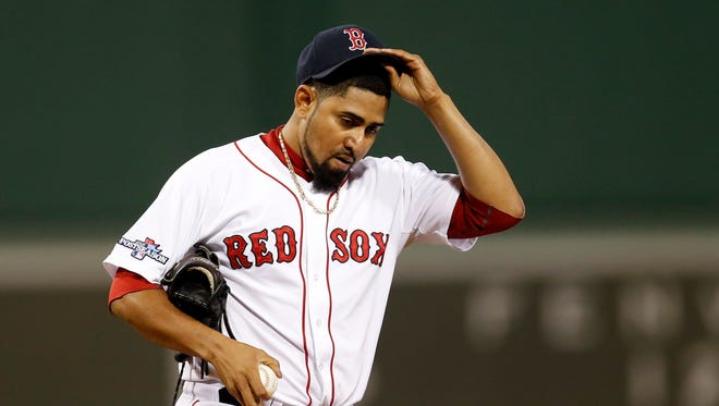 Franklin Morales pitched in the playoffs for the Red Sox.