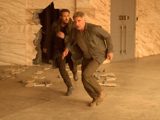 "Ryan Gosling (left) and Harrison Ford in Alcon Entertainment's sci-fi thriller ""Blade Runner 2049,"" a Warner Bros. Pictures and Sony Pictures Entertainment release, domestic distribution by Warner Bros. Pictures and international distribution by Sony Pictures."