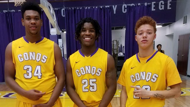 (Left to right) Reitz graduates Jyrus Freels and Tamaje Blackwell and North product Justice Dixon joined forces at Dodge City Community College in Kansas.