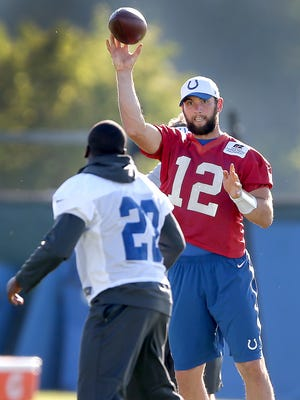 Indianapolis Colts quarterback Andrew Luck (12) tosses a short pass to running back Frank Gore (23) during the Colts practice Monday, October 5, 2015, afternoon at the Colts Complex on West 56th Street.