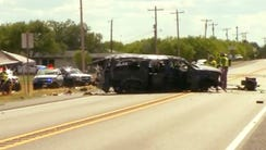 This frame grab from video provided by KABB/WOAI-TV