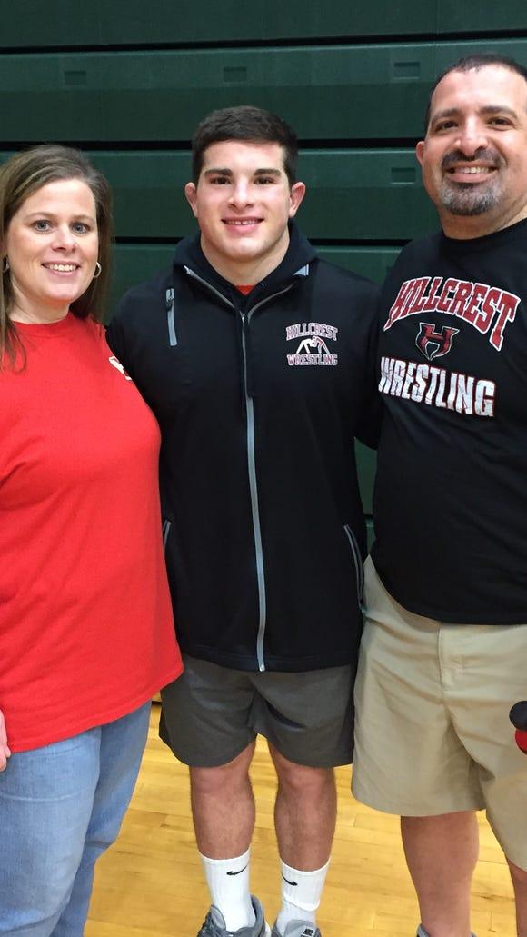 Hillcrest senior Garrett Sayegh, with parents Jennifer