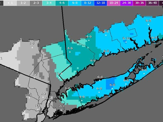 Projected snowfall amounts in New York City and suburbs on Feb. 8, 2016, as seen in a National Weather Service map.