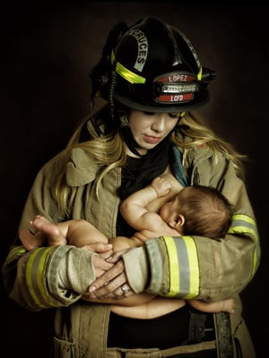 A Las Cruces firefighter may be under fire after a portrait of his wife breastfeeding their infant son while wearing his uniform surfaced on social media last month.