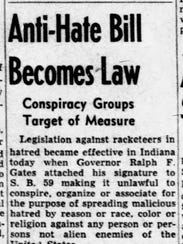 """""""Anti-Hate Bill Becomes Law"""" was the headline on the"""