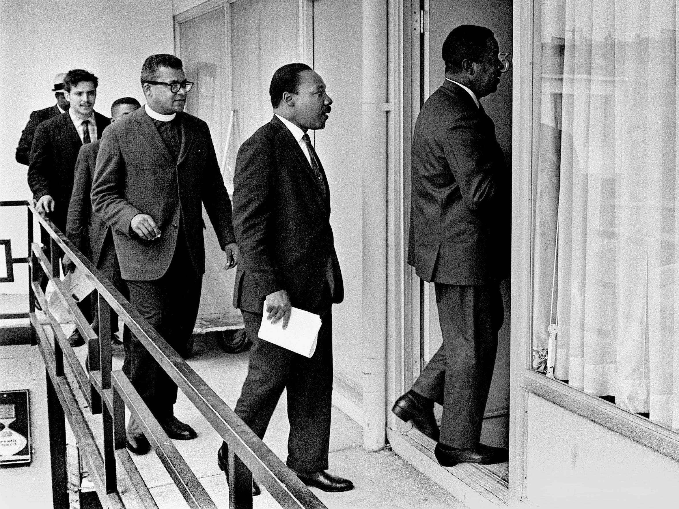 Rev. Ralph Abernathy led Dr. Martin Luther King Jr., Rev. James M. Lawson Jr. and others into Room 307 at the Lorraine Motel to discuss a restraining order barring another march in Memphis.