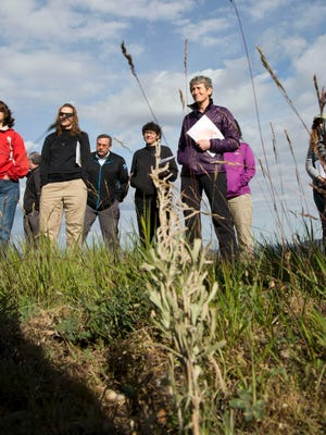 Interior Secretary Sally Jewell tours the Soda Fire restoration project in Owyhee County, Idaho with a group of regional land managers and conservationists Tuesday, May 24, 2016.