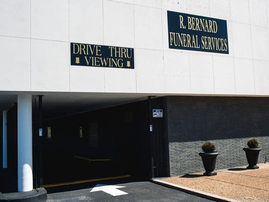 A sign outside of R. Bernard Funeral Services in Memphis