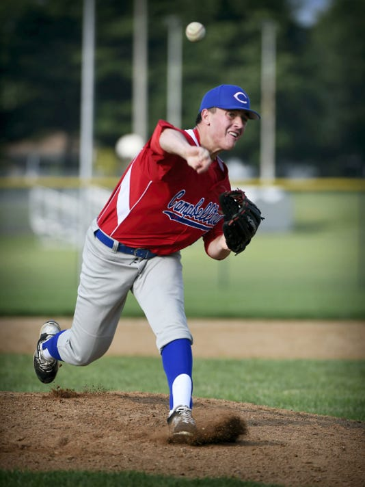 Campbelltown pitcher Trevor Gill throws toward home plate during a 3-2 home win over Myerstown on Wednesday.