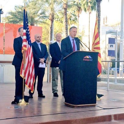 Mesa Mayor John Giles announces the city will join