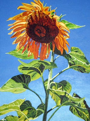 """Sunflower"" by Christy Ohman, part of the ""Celebration"" exhibit at Meadows Art Gallery in Sister Bay."