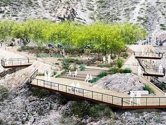A rendering of the proposed landscape design for the
