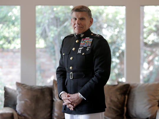 El Pasoan Marine Corps Maj. Gen. Juan Ayala is retiring and plans on settling in New Braunfels, Texas. Here, he is seen in his brother Hector's home in El Paso.