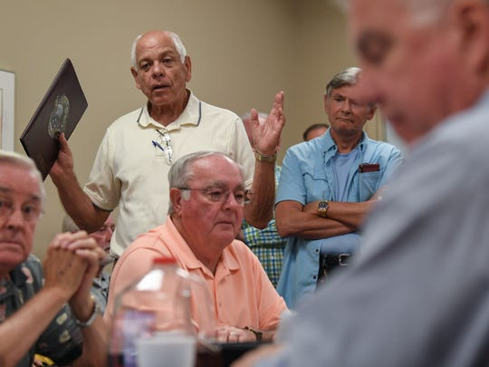 Anderson County Councilman Tom Allen speaks about 22ft Academy during a Anderson County Land Use and Zoning Board of Appeals meeting at the Anderson County Courthouse Annex in Anderson on Thursday.