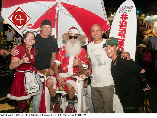 Surf legend and Cocoa Beach native Kelly Slater, second