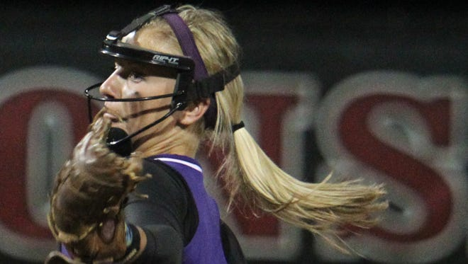 Mosinee's Rochelle Koshalek delivers a pitche as the Indians blanked McFarland, 6-0, to win their WIAA D2 state semifinal game in Madison, Thursday, June 12, 2014.