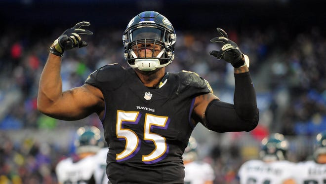 Baltimore Ravens linebacker Terrell Suggs (55) reacts during the game against the Philadelphia Eagles at M&T Bank Stadium.