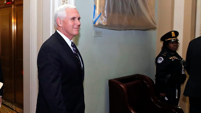 Vice President Mike Pence arrives for the Republican policy luncheon on Capitol Hill, Tuesday, Nov. 7, 2017 in Washington. (AP Photo/Alex Brandon) ORG XMIT: DCAB128