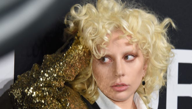 Lady Gaga at Yves Saint Laurent fashion show in Hollywood, on Feb. 11, 2016.