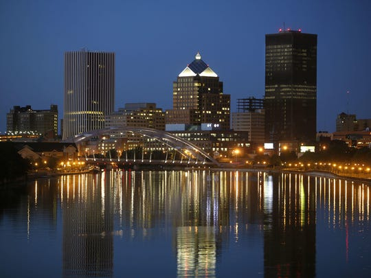 The city of Rochester skyline.