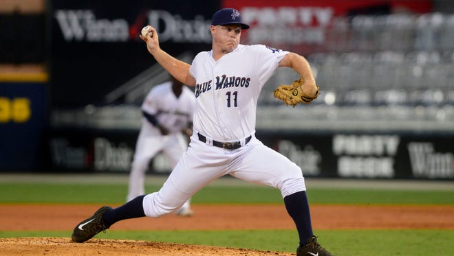 Pensacola Blue Wahoos pitcher Jacob Johnson relieves teammate Sal Romano in the first inning Wednesday while playing the Chattanooga Lookouts at Blue Wahoos Stadium.