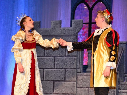 """Meghan Glaspey and Kevin Plummer, as king and queen, rehearse a musical number for Cumberland Regional High School's spring musical """"Cinderella,"""" which will be presented at 7 p.m. March 23 and 24 and 1 and 7 p.m. March 25 in the school's Performing Arts Center at 90 Silver Lake Road, Seabrook. Tickets, available at the door, are $12 for adults and $8 for children and students with identification. For information, call (856) 451-9400 or visit www.crhsd.org."""