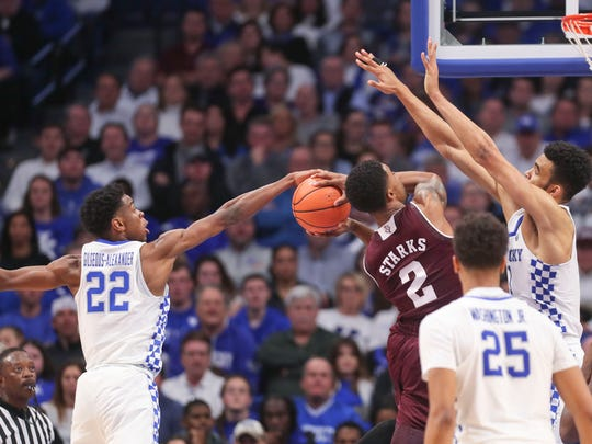 Kentucky's Shai Alexander Gilgeous had this block on Texas A&M's TJ Starks in the second half to help the Wildcats secure a 74-73 win over Texas A&M Tuesday, Jan. 8, at Rupp Arena. Gilgeous finished with 16 points and team-high seven rebounds.