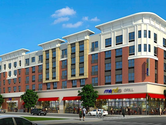 This is an artist's rendering of what the Meridia Lifestyles II in Linden will look like when it opens late next year.