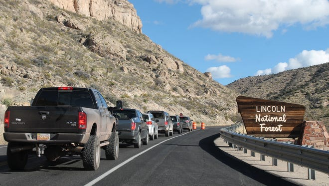 Drivers wait for the pilot vehicle to lead them through the one-lane construction area on Wednesday afternoon. In the same fashion, NMDOT will be allowing traffic through U.S. 82 mile marker 10 during roadwork beginning Feb. 6 instead of closing the road.