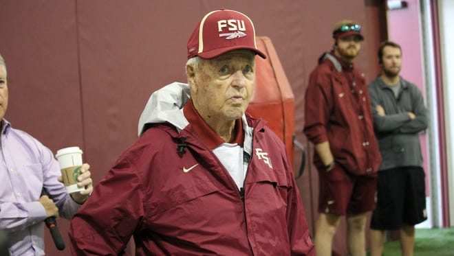 Former Florida State head coach Bobby Bowden was back at FSU practice for the first time since retiring in 2009 on Wednesday.