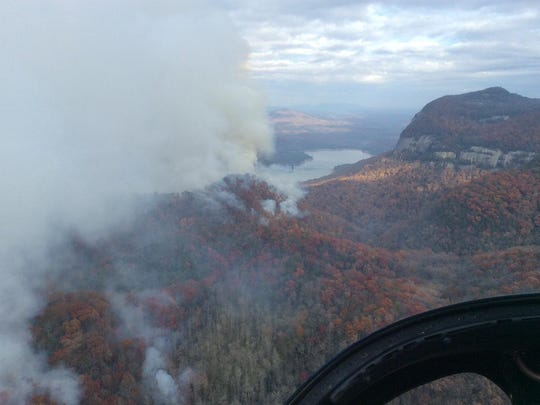 View in November from one of seven helicopters used to battle a wildfire on Pinnacle Mountain, South Carolina. The fire burned from Nov. 9 until Dec. 5. No one was hurt and no structures were lost.