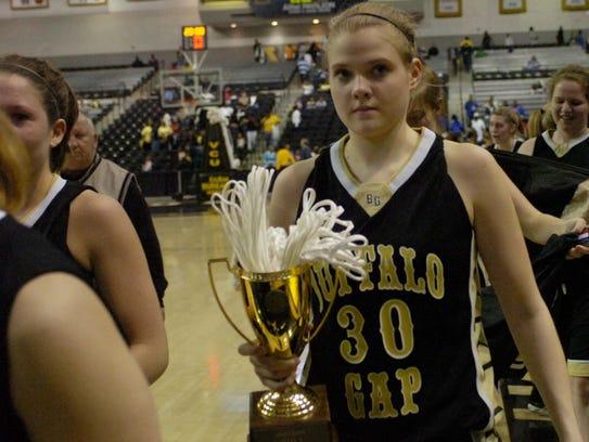 Buffalo Gap's Holly Morgan walks to the locker room
