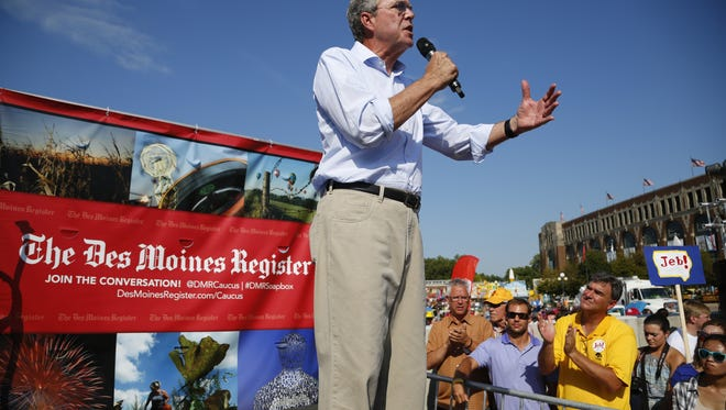Republican presidential candidate, former Florida Gov. Jeb Bush, speaks from the Des Moines Register's Political Soapbox at the Iowa State Fair Friday, Aug. 14, 2015.