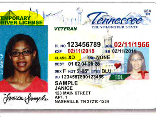 An example of a temporary driver's license issued in
