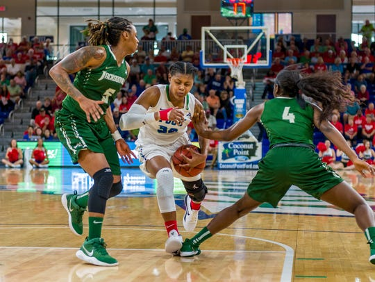 FGCU All-ASUN forward Rosemarie Julien and the Eagles