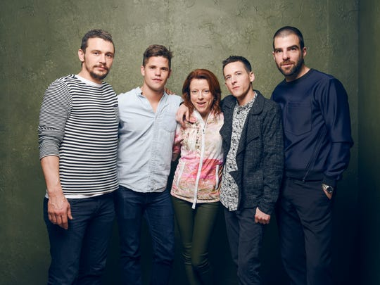 """The cast and crew of """"I Am Michael,"""" attending the 2015 Sundance Film Festival, are (left to right): James Franco, Charlie Carver, producer Lauren Selig, director/writer Justin Kelly and Zachary Quinto."""