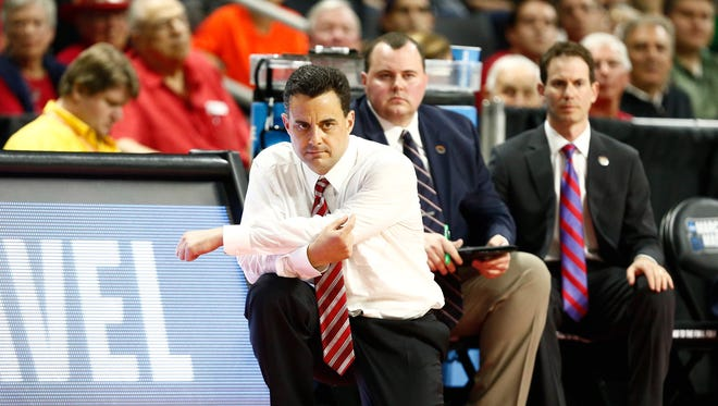 Arizona Wildcats coach Sean Miller looks on during the first half of a first round game against the Wichita State Shockers during the 2016 NCAA Tournament at Dunkin Donuts Center.