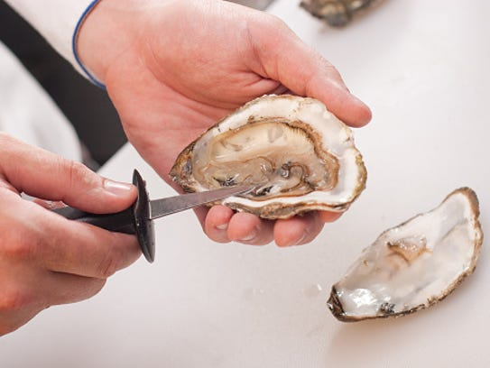 Stock photo: Man shucks oysters using a tiny knife.