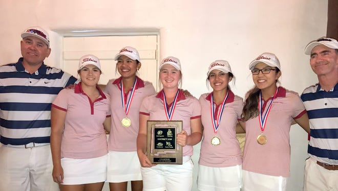 """The Deming High Lady Wildcat Golf Team captured the District 3-5A Championship on Monday at Rio Mimbres Golf Course. The team is, from left, assistant coach Richard Perales, Aubrey Sandoval, Allyssa """"Cheeks"""" Magana, Presley Jackson, Sahira Contreras, Ann Marie Magana and head coach James Williams."""