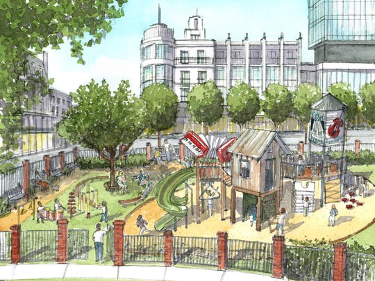This is an artist's rendition of the proposed Zydeco Park in downtown Lafayette.