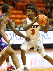 UTEP guard Evan Gilyard, 3, looks to pass to a teammate Thursday night.