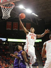 Clemson forward Donte Grantham (15) lays the ball up against High Point at Littlejohn Coliseum, Friday, November 25, 2016.