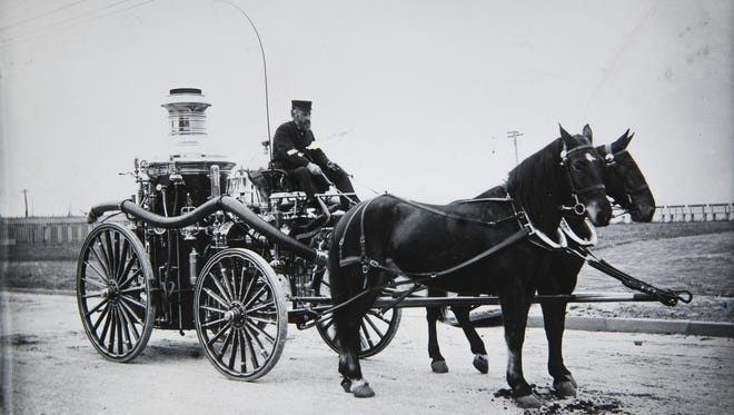A Long Branch fire truck prior to the turn of the 20th century.