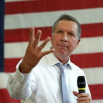 Republican presidential candidate John Kasich speaks during a town hall meeting in Rockville, Maryland on April 25.