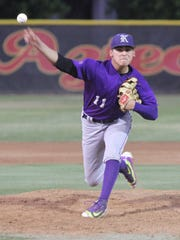Shadow Hills' Alex Lopez pitches to Palm Desert during
