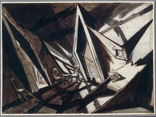 Andrei Andrejew's set design drawing for Robert Wiene's