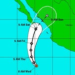 Hurricane Sandra is forecast to curve toward the west coast of Mexico over the next few days.
