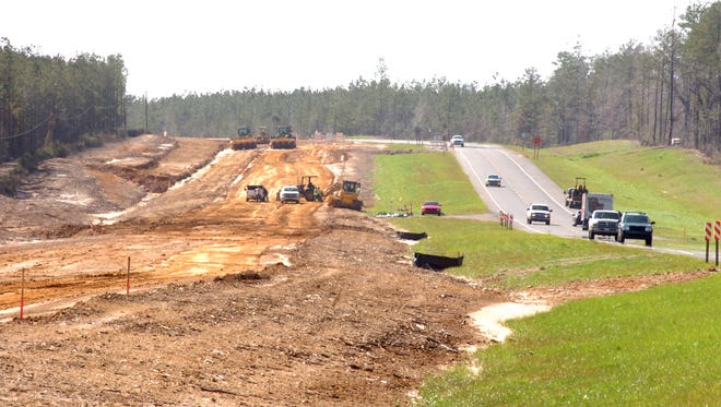 Work is done to construct two additional lanes on La. Highway 28 West in 2012. Now that much of the highway between Alexandria and Leesville meets federal interstate standards, it's a natural to be part of the route of the proposed Interstate 14 through Louisiana.